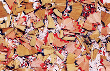 Colorful Pencil Shavings On Wh...
