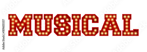 Fotografie, Obraz  Musical word made from red vintage lightbulb lettering isolated on a white