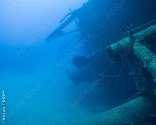 Foto op Canvas Schipbreuk ship wreck Hilma Hooker Bonaire island caribbean sea underwater