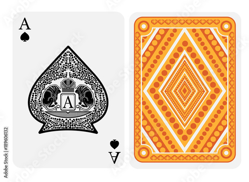 Ace of spades face with crown and two lions with floral pattern inside spades form and back with gold yellow geometrical texture on suit Canvas Print
