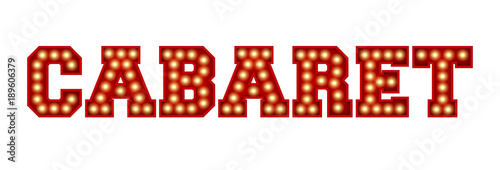 Photo  Cabaret word made from red vintage lightbulb lettering isolated on a white