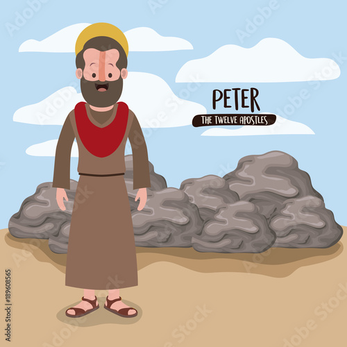 the twelve apostles poster with peter in scene in desert next to the rocks in co Fototapet