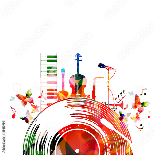 Colorful Music Poster With Vinyl Record And Music