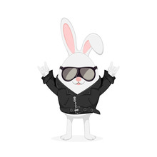 Easter Rabbit In Black Jacket