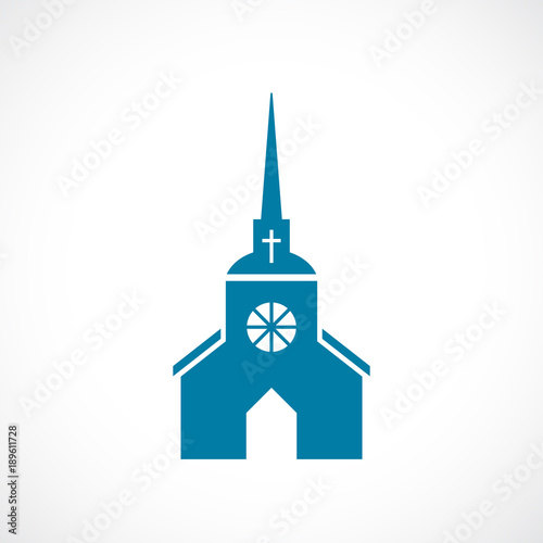 Fotografia Church with steeple vector icon