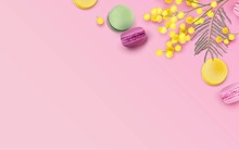 Colorful Macaroons And Mimosa ...