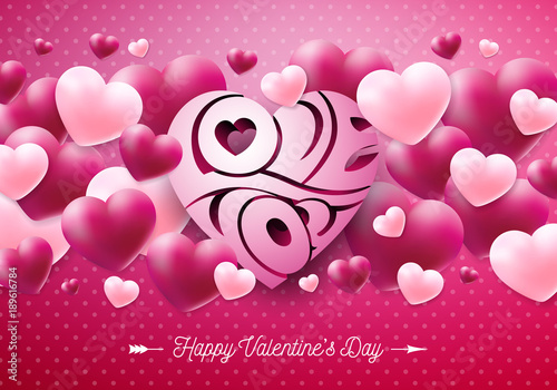Happy Valentines Day Design With Red Heart On Shiny Pink Background