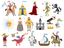 Big Set Of Cartoon Medieval Ch...