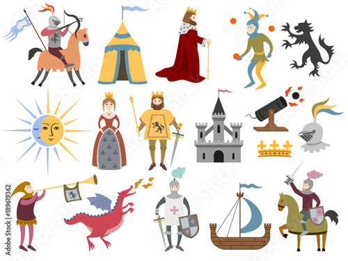 Fotografiet Big set of cartoon medieval characters and medieval attributes on white background