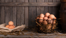 Brown Chicken Eggs On A Rustic...
