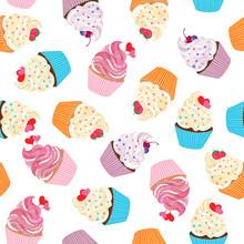 Cupcake Seamless Vector Patter...