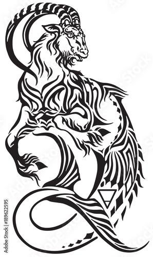 capricorn zodiac sign . tribal tattoo style mythological creature