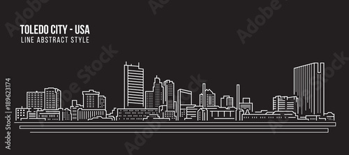 Cityscape Building Line art Vector Illustration design - Toledo city (USA)