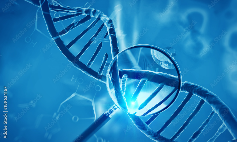 Fototapeta 3d render of dna structure and cells, abstract background
