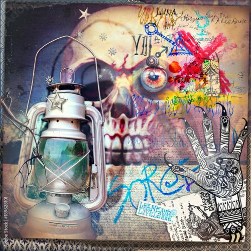 Poster Imagination Teschio macabro e gotico con mano alchemica e lanterna