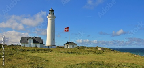 Photo  Beautiful old lighthouse in Hirtshals, Denmark.