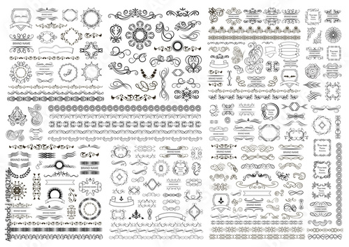 Photo  Big set of vector graphic elements for design