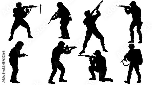 Fotografía  Set of Soldier silhouette