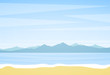 Vector illustration: Summer landscape with beach, sea and mountains on horizon.