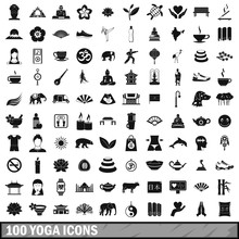 100 Yoga Icons Set, Simple Sty...