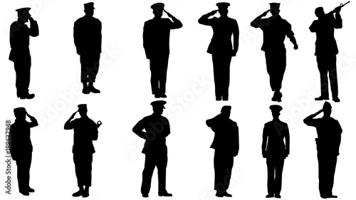 Fotografiet  Military man salute silhouette