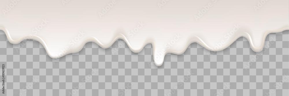 Fototapety, obrazy: Yogurt creamy liquid or yoghurt cream melt splash flowing background. Vector white milk splash or ice cream flow soft texture on transparent background for sweet dessert design