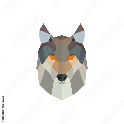 Fotomural Vector polygonal wolf head