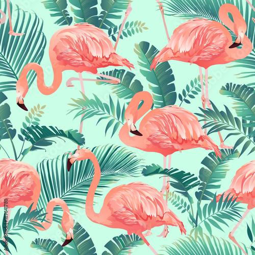Fototapeta premium Flamingo ptak i tropikalna palma tło wektor wzór.