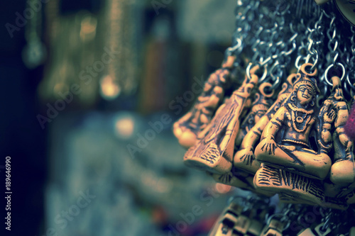 Key chain with lord shiva background bright decorative design indian chainkey.