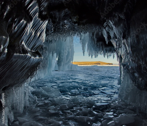 Russia. Eastern Siberia, lake Baikal. Ice caves of Olkhon island from the Small sea.