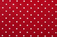 Red Polka Dot Felt Material Background.