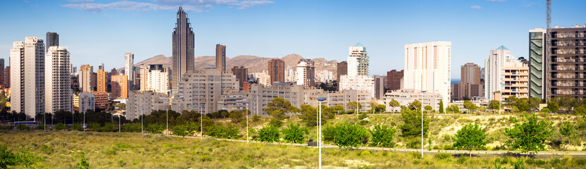 Fototapeta Panorama of New residential districts at Benidorm