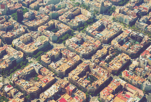 Photo  Aerial view  of  Eixample  district. Barcelona,  Spain