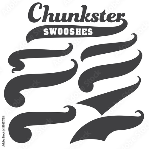 Black Squiggle Swoosh Text Font Tail For Baseball Tshirt Design