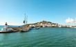 Ibiza, Spain - October 5, 2017 : Beautiful view of boat port and old town of Ibiza city and Formentera islands, Spain. Sea rest and holiday concept. View from boat and water. Popular summer resort.