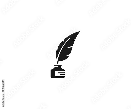 Fotografía  Inkwell and feather pen logo template