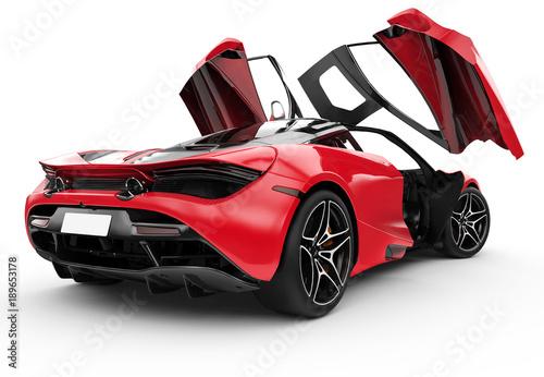 Fotobehang Snelle auto s Red modern sport car with oper doors