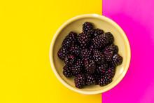 Bowl Of Blackgerries On Color ...