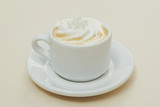 cup of coffee and cream on white background