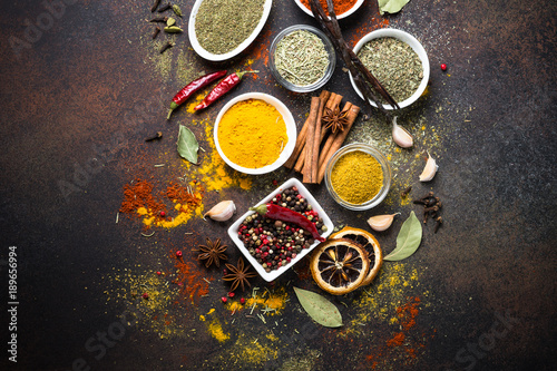 Canvas Prints Spices Set of Various spices on dark stone table.