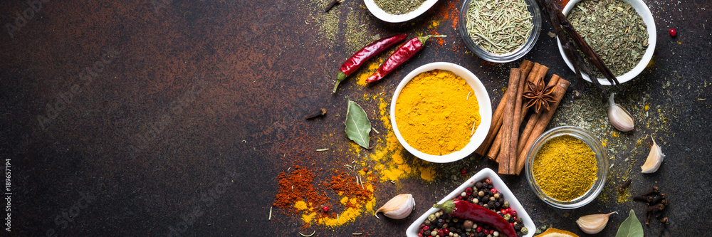 Fototapety, obrazy: Set of Various spices on dark stone table.