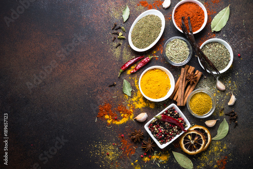 Canvas Prints Spices Set of Various spices on dark stone table. Top view. Food background.