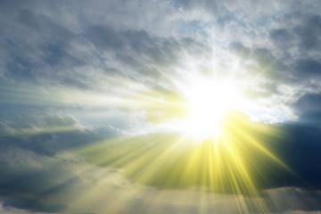 Fototapeta Do kościoła Rays of sunshine in the clouds, Holy Spirit