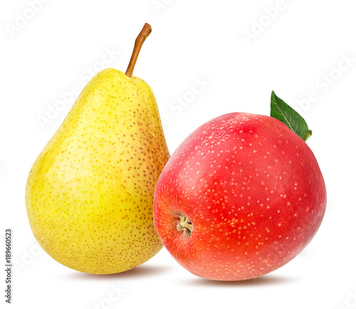 Photo Fresh red apple and yellow pear isolated on white background with clipping path