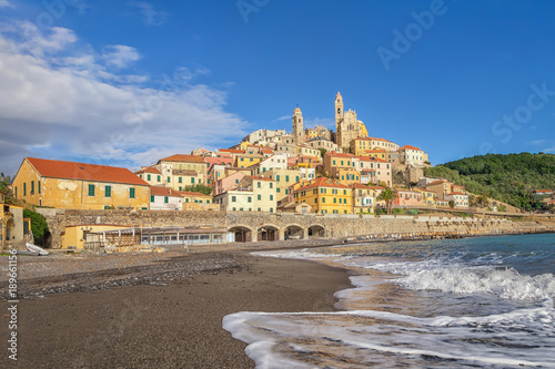 Poster Ligurie View of Cervo town from the beach, Province of Imperia, Liguria, Italy