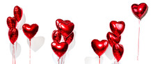 Valentine's Day. Set Of Air Balloons. Bunch Of Red Heart Shaped Foil Balloons Isolated On White Background