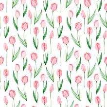 Watercolor Tulips Pattern. Int...