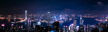 May 20, 2017. Hong Kong. Amazing Panoramic Night Aerial View Of The Hong Kong City. City Panorama With Lights.