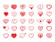 Red heart doodles collection vector illustration