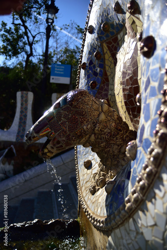 Fototapeta Park Guell - fountain mosaic sculpture in Barcelona. obraz